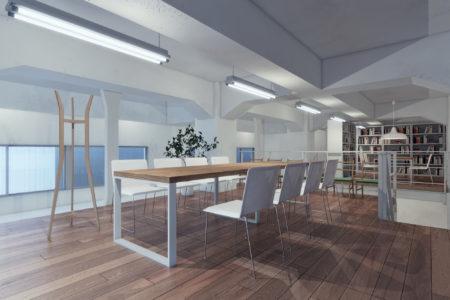 倉庫で使用しているスペースの一角を<br /> 事務所としてリノベーションを実現